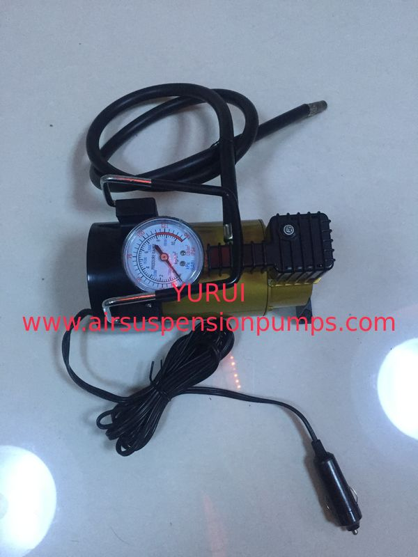 Silver And Yellow Car Tyre Pressure Pump , Heavy Duty Power 12 Volt Air Compressor